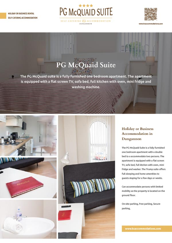 pg mcquaid suite rental self catering holiday accommodation